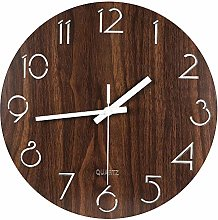 TiooDre Wall Clock Silent Non Ticking Round Wooden