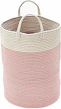 Tiowo Large Cotton Rope Laundry Basket Pom Pom