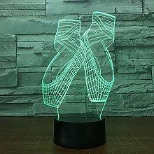 Tissen 3D Ballet Shoes Night Light 7 Colors Mood