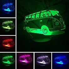 Tissen 3D Bus Car Train Night Light 7 Colors Mood