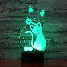 Tissen 3D Cat Animal Night Light 7 Colors Mood