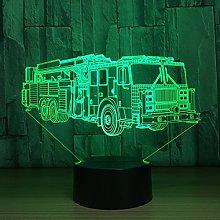 Tissen 3D Fire Truck Car Night Light 7 Colors Mood