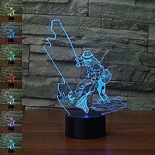 Tissen 3D Fishing Fish Night Light 7 Colors Mood