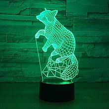 Tissen 3D Fox Night Light 7 Colors Mood Light