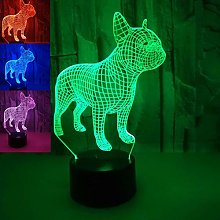 Tissen 3D French Bulldog Dog Night Light 7 Colors