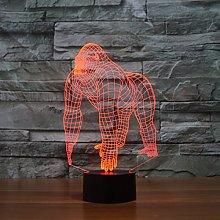 Tissen 3D Gorilla Monkey Night Light 7 Colors Mood