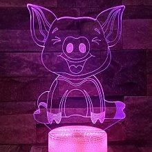 Tissen 3D Pig Night Light 7 Colors Mood Light