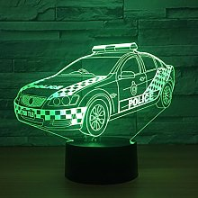 Tissen 3D Police Car Night Light 7 Colors Mood