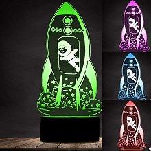 Tissen 3D Rocket Night Light 7 Colors Mood Light