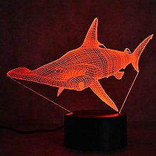 Tissen 3D Shark Fish Night Light 7 Colors Mood