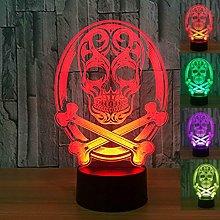 Tissen 3D Skull Night Light lamp 7 Colors Mood