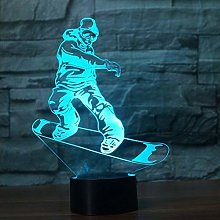 Tissen 3D Snowboarding Night Light 7 Colors Mood