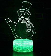 Tissen 3D Snowman Night Light 7 Colors Mood Light
