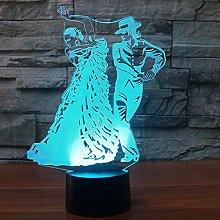 Tissen 3D Tango Dance Night Light Lamp 7 Colors