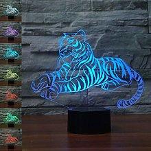 Tissen 3D Tiger Lion Animal Night Light 7 Colors