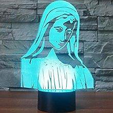 Tissen 3D Virgin Mary Night Light 7 Colors Mood