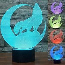 Tissen 3D Wolf Moon Animal Night Light 7 Colors