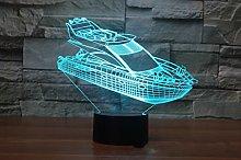 Tissen 3D Yacht Boat Night Light 7 Colors Mood