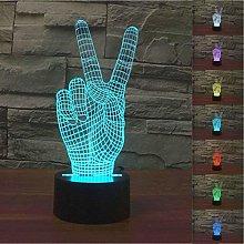 Tissen Abstract 3D Victory Sign Hand Night Light 7