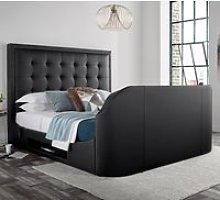 Titan 2 Black Leather TV Media Bed Frame - 5ft