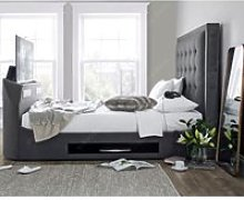 Titan Berwick Grey Fabric TV Media Bed Frame - 5ft