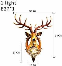Tivivose Yellow Antler Wall Lamp Deer Head Crystal