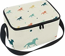 TIZORAX Colored Horses Insulated Lunch Bag Lunch
