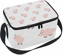 TIZORAX Cute Piggy Insulated Lunch Bag Lunch Box