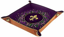 TIZORAX Leather Valet Tray, Mardi Gras Dotted