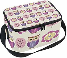 TIZORAX Owls and Flowers Insulated Lunch Bag Lunch