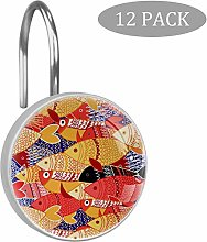TIZORAX Shower Curtain Hooks Clock With Day Sun