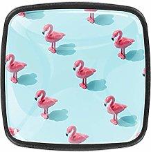 TIZORAX Square Drawer Knobs Pink Flamingoes Toyes