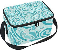 TIZORAX Teal Flower Winter Snowflake Insulated