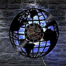 TJIAXU 3D Earth Wall Clock Globe Map Home