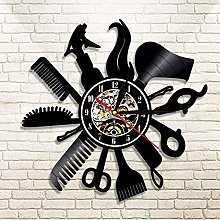 TJIAXU 3D Multicolor Wall Clock Hairdresser Vinyl