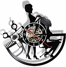 TJIAXU Hairdresser Vinyl Record Wall Clock Barber
