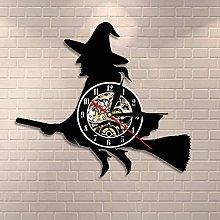 TJIAXU Witch on a Broom Stick Halloween Wall Art