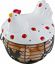 TMXK Chicken Shape Egg Storage Basket,Metal Mesh