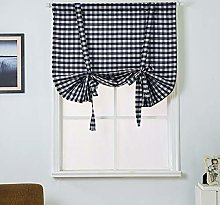 ToDIDAF Tie Up Roman Curtain, Hemp Cotton Lattice