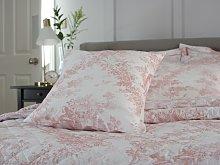 Toile De Jouy Vintage Pink Filled Square Cushion
