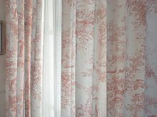 Toile De Jouy Vintage Pink Lined Curtains