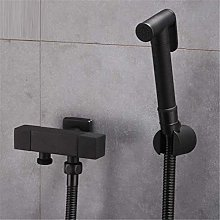 Toilet Bidet Sprayer Set Kit Brass Hand Black Gun