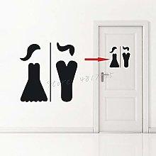 Toilet Front Door Vinyl Mural Ladies and Gentlemen