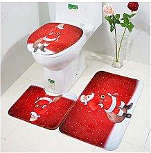 Toilet Seat Cover Rug & Tank Cover Bath Mat 3PCS