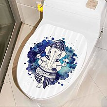 Toilet Seat Decal Aquerelle Design Bathroom