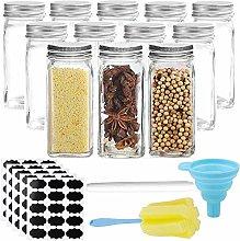 TOKERD 12Pcs Glass Jars with Lid 100ml Spice Jars