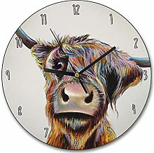 Toll2452 A Bad Hair Day Clock Scottish Cow Wall