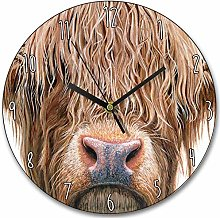 Toll2452 Beautiful Wooden Highland Cow Clock