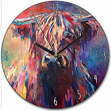 Toll2452 Colourful Highland Cow Clock Scottish Cow