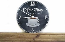 Toll2452 Kitchen Wall Clock Vintage Style Coffee